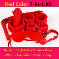 wistiti Бандаж набор 7 комплектов для прелюдия секс игра меховых наручников Eyeshade лодыжка манжета воротник кожа кнут Кляп BDSM Bondage секс игрушка