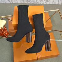 Calcetines botas otoño invierno mujeres zapatos de punto botas elásticas sexy botas de moda tacones gruesos tacones mujer zapatos de tacón alto tamaño grande 35-42