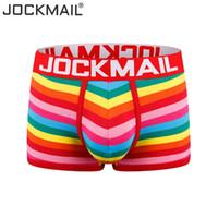 JOCKMAIL boksör erkekler seksi iç çamaşırı pamuk Çizgili gökkuşağı moda Genç çamaşırı Düşük bel nefes külot Boxershorts