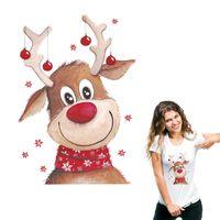 Weihnachten Deer Patches DIY Wärmeübertragung Aufkleber Parches Eisen Applikationen für Kleidung Nettes Geschenk für Festival Waschbar Aufkleber