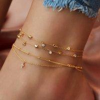 Kadınlar Altın Haç kolye Halhal Bilek Bilezik On Bacak Seksi Barefoot Takı Sıfır Bohemian Çok Katmanlı Yapay elmas Kalp Halhallar