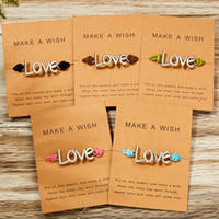Make a Wish Paper Card Love Woven Adjustable Bracelet Fashio...