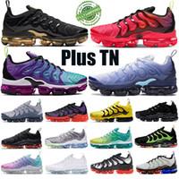 2020 Yeni Siyah Elektrikli Yeşil Gerilim Mor Artı TN Erkek Kadın Koşu Ayakkabıları Hiper Menekşe Üçlü Siyah Yastık Spor Sneakers Eğitmen