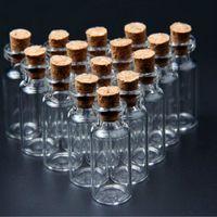 Хранение бутылки JARS 20PCS / пакет 2 мл 16x35 мм крошечный небольшой четкий пробковый стакан эфирных маслом покрасневшие флаконы для свадьбы праздничные украшения Ботт