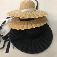 ZJBECHAHMU Moda 2020 New Verão Caps Big Brim palha de trigo chapéus de sol para as mulheres 15 centímetros Brim fita bowknot Praia Cap Layies