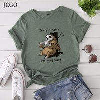 JCGO Frauen-T-Shirt Sommer Kurzarm Baumwolle plus Größen S-5XL nette faule Sloth Drucke lustigen Casual O Ansatz Female T-Shirt T-Shirts Tops LJ200813