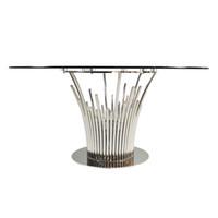 مصنع الصناعية مخصص الحديثة الطعام طاولة الطعام أثاث غرفة الطعام أعلى الزجاج الساق المعدنية جولة 8 مقاعد طاولة الطعام