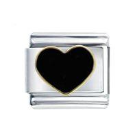 Taille classique en gros 9 mm en acier inoxydable liens composables émail à main réglable amour coeur noir liens bracelet charme italien