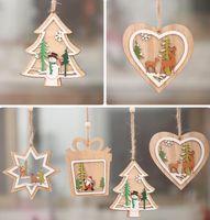 Navidad 2D 3D pendientes colgantes de madera ahuecan hacia fuera el ornamento de la Navidad de la estrella del árbol de Navidad de Bell del partido decoraciones caseras GGA3679-2