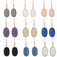 Resin Druzy Drusy Earrings Designer Earrings Oval Fashion Da...