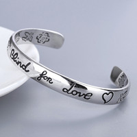 Women Letter Blind for Love Bangle with Stamp Flower Bird Pa...