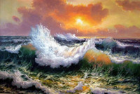 Seascape Huge wave in the sunset with seabirds Wall Decor Ha...