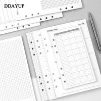 Bloco de notas A5 A6 A6 Lote Folha Notebook Refil Binder Inner Página Interior Planejador Mensal Semanal para fazer Lista Linha Ponto Grade dentro do papel