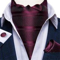 Бантики, роскошные мужские аскот галстук набор старинные вино красный полосатый шелк свадьба формальное галстук кравистый платок Запонки 3 шт. Дибнгун