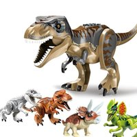 Jurásico Dinosaurio Bloque de construcción Juguete Figuras de acción Ladrillos Tyrannosaurus Dragon Dinosaurio Animal Mensaje Modelo Boys Niños Regalos