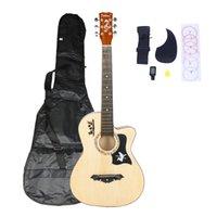 Mode 38 inch houten kleur basswood cutaway akoestische gitaar w / tas string pick riem voor beginner Amerikaanse voorraad