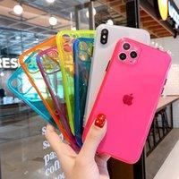 Флуоресцентные цвета Защита камеры телефона чехол для iPhone SE 2020 11 Pro X XR XS Max 7 8 Plus Candy Цвет Вернуться ТПУ Мягкий чехол