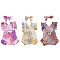 Ins Tie Dyed Newborn Bodysuits Infant Bow Jumpsuits + Headba...