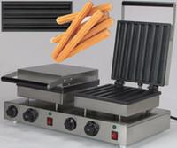 Churros Waffle makinesi İspanyol 14pcs Çift Kafa Elektrikli Hot Dog Muffin Churro Yapma Makinesi