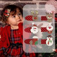 Клипы Рождество волос Аксессуары Baby Girl пришивания волос Elk Санта-Клауса носки Barrettes Шпилька Голова Аксессуары для волос