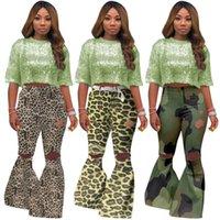 Fit beiläufige Damen Kleidung Damen Designer Flare Pants Camouflage Leopard-Druck-Loch-Jogginghose mittlere Taille Schlank