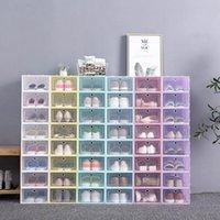رشاقته واضح البلاستيك مربع الأحذية الغبار الأحذية تخزين مربع فليب صناديق الأحذية شفافة لون الحلوى اللون الأحذية المنظم مربع LX2837