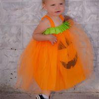 Halloween Gaze-Kleid-Kürbis-Gesicht Cosplay Kleider Kind-Baby-Prinzessin Festival-Partei-Kleid-Kind-Kleidung Tüllrock Verkauf E9201