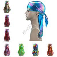 Designer Durags Laser Turban Long Tail Shiny Silky Durag Bandana Turbane Perücken Welle Caps Kopfbedeckung Stirnband Piraten-Caps Rags Hut D82411