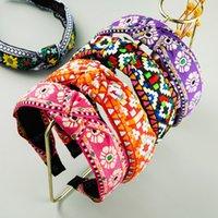 Elegante Ethnic ricamo fascia del fiore per la donna Vintage Hand Made geometrica del modello Hairband donna del partito Accessori per capelli