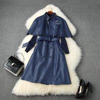 유럽과 미국 여성 의류 2020 가을 새로운 스타일의 빈티지 케이프 메쉬 상단 더블 브레스트 조끼 드레스 3 피스