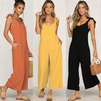 Macacões femininos Macsuits 2021 Solto Sólido Black Wide Leg Pantsuits Daily Sexy Aberto Volta Amarelo Amarelo Orange Jumpsuit Edressu SJ-CF1862