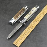 New Outdoor Camp Mafia Damasco Steel Steaghorn Maniglia Automatic Pieghevole Bordo Bordo EDC Tactical Caccia Pieghevole Coltello da tasca coltello