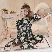 베스트셀러 여성 잠옷 3 개 공단 잠옷 Pijama 실크 홈 착용 홈 의류 자수 수면 라운지 파자마 잠옷 세트