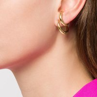 Peri'sBox Hot Sale Double Circle Twisted Gold Stud Earrings Polished Irregular Earrings Studs Minimalist Geometric 2020