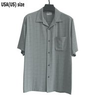Dos colores Extra Grande camisa del color sólido de la Seda Rayón hombres de manga corta Casual Vintage Negro Gris Pocket dan vuelta-abajo