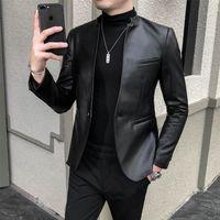 Vestito da affari Ecopelle Uomini Blazer Casual Slim Fit Blazer Masculino PU Giacca bottone singolo nozze Coat Ropa Hombre
