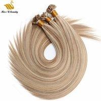 İtalyan keratin düz ucu öncesi yapıştırılmış saç uzantıları kahverengi sarışın piyano renk 16/22 100g 1g / strand 12-24 inç