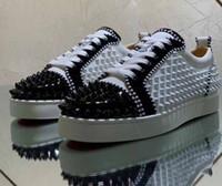 Sapatilhas parte inferior vermelha calçados casuais das mulheres dos homens Baixa Alta Designer completa Spikes rolo Boat Flats Skate Loafers Luxey Homem Mulher Shoes