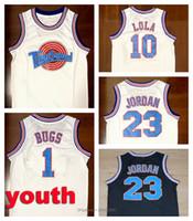 Молодежные дети Top Tape Space Jams Tune Squad Jersey 23 Michael 1 Bugs Bunny 10 Lola Баскетбол Майки Черный Белый Размер S-XL