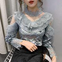 Lace Shirt Women's Autumn Winter 2020 Women Blouse Ruffles Mesh Top Long Sleeve Korean Velour Half-Collar Womens Clothing 3026E