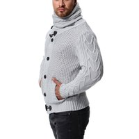 Knit lapela manga comprida Men Slim cor sólida camisola regular por Homens Winter alta Neck CX200818