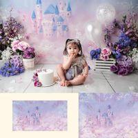 Fotografía de castillo de la fantasía retrato de los niños de fondo floral púrpura soñadora princesa cumpleaños del arte telón de fondo para el estudio de la foto