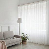 Branco Tulle cortina para sala de estar decoração moderna Chiffon Sólidos Sheer Voile Cozinha Cortina Hotel Janela Tulle