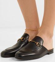 Cuoio di lusso della Princetown Horsebit catena Pantofole Uomini Donne sandasl delle signore del metallo Slides Comfort a piedi scarpe EU35-46