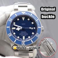 Lujo Nueva 41mm 25600TB 25600 Esfera Azul Azul Reloj para hombre automático del bisel original bucklet pulsera de acero inoxidable caballero relojes Hello_watch
