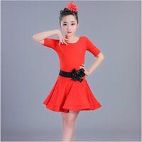 New Children's Latin Dance Suit Girls Leotard Dancing Costume Kids Summer Rumba Dance Suit Girls Ballroom Dresses B-5673