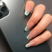 24pcs / set Longo Francês pregos falsificados Squre Tampa completa Europeia bailarina Nail Art Tips Beauty Caixão unhas em forma Decal Nails falsos
