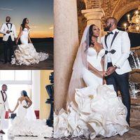 2020 оборками из органзы Свадебные платья Милая Часовня Поезд Великолепная Свадебные платья Нигерийский Arabic брак платье Robe De mariée