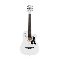 Basswood Cutaway Neue Weiße Akustikgitarre mit Tasche String Pick Pick Gurt Für Anfänger Versand von uns