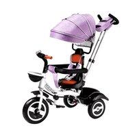 Poussettes # Enfant tricycle facile pliant bicyclette de bicyclette rotattable chariot bébé chariot trois roues poussette enfants vélo de vélo chariage 6m-6y